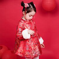 儿童唐装汉服套装冬新年装中国风格格喜庆拜年服宝宝过年旗袍