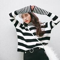 2017秋冬新款韩版宽松条纹显瘦长袖针织衫女高领套头毛衣打底衫 均码
