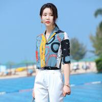 职业印花衬衫女2020春夏新款时尚韩版女士中袖洋气宽松衬衣休闲