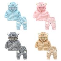 女婴儿衣服5个月3男宝宝加绒加厚外套装裤子秋冬装