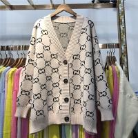 E2毛衣开衫外套女2018春装新款韩版宽松字母提花V领针织衫上衣0.8