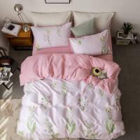 北欧全棉四件套纯棉简约宜家床上用品1.8m床单床罩三件套纯色