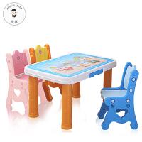 宝宝学习桌椅组合套装 儿童书桌写字画画幼儿园学习桌子塑料椅子