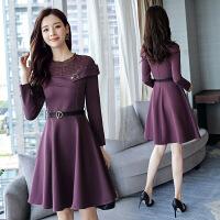 秋季新款连衣裙圆领长袖短裙纯色配腰带甜美镂空圆领