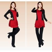 广场服服装女套装新款秋冬舞蹈裙裤三件套长袖演出跳舞服加绒加厚