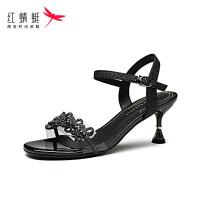 【红蜻蜓抢购,抢完为止】红蜻蜓女鞋夏季新款优雅时装高跟鞋细跟露趾一字带女凉鞋