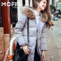 2017冬季新款欧美风修身显瘦中长款大毛领潮流女式羽绒服 银色