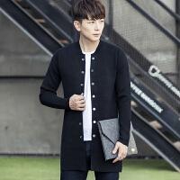 秋冬新款男青年中长款毛衣休闲针织韩版开衫潮流毛衣外套披风风衣 黑色