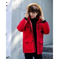 男士羽绒服 新款男冬装外套毛领大码登山大码韩版加厚羽绒服