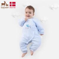 欧孕新生婴儿衣服宝宝开档连体衣秋冬0-3个月初生长袖爬爬服哈衣