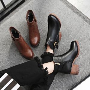 毅雅2017秋冬短靴女粗跟中跟英伦风切尔西靴粗跟侧拉链复古马丁靴裸靴