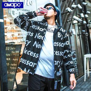 【限时抢购到手价:139元】AMAPO潮牌大码男装加肥加大码肥佬外套男潮胖子字母印花连帽夹克