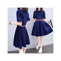 春夏新款女装时尚休闲假两件套连衣裙气质中长款A字连衣裙女 蓝色
