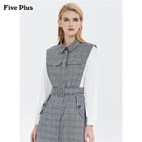 FIVE PLUS2019新款女冬装拼接格子连衣裙女长袖高腰短裙子配腰带
