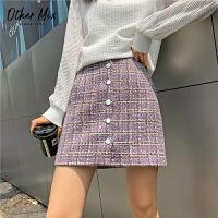 七格格半身裙女2020秋冬新款小香�La字�@瘦洋�庑蓍e紫色格子短裙