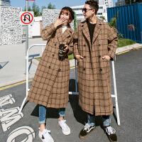 新款冬季韩版情侣中长款呢子大衣学生bf过膝格子男女毛呢外套 驼色