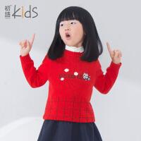 初语童装女童秋装毛衣套头圆领宝宝针织衫儿童打底衫冬装毛衫