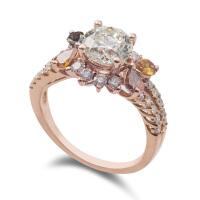 先恩尼钻石 红18k金 玫瑰金钻戒 克拉钻石戒指 碧玺戒指 HFA156珍爱一生