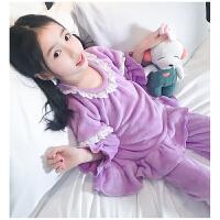 2017新款秋冬季女孩长袖家居服套装女童儿童珊瑚绒睡衣女大童装