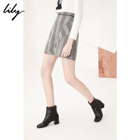 Lily2018秋新款女装商务OL拼接感气质格纹显瘦半裙118110C6224