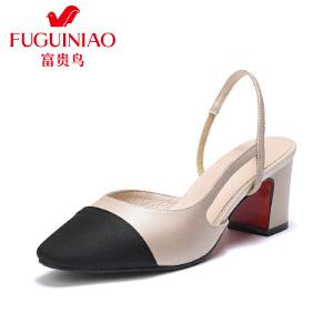富贵鸟女鞋2017夏季新款粗跟包头凉鞋女高跟尖头羊皮拼布双色单鞋
