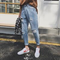 夏季破洞青年韩版小脚哈伦裤学生修身牛仔裤男士九分裤潮