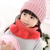 冬天男女童宝宝保暖围脖套头加厚儿童围巾韩版百搭可爱球