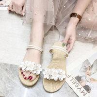 户外拖鞋女可爱ins外穿时尚配裙子的鞋编织平底花朵两穿凉鞋