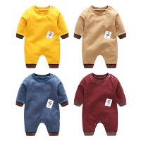 女婴儿童连体衣服秋季春款长袖哈衣8个月1岁男宝宝新生儿外出衣服