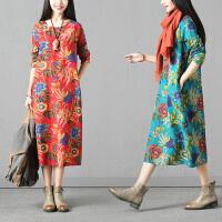 实拍秋装新款韩版大码女装长袖印花连衣裙中长款宽松潮