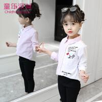儿童白衬衫2018春季新款韩版长袖洋气上衣女孩