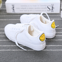 夏季小白鞋女2017新款学生韩版百搭平底帆布鞋女运动鞋板鞋休闲鞋 笑脸