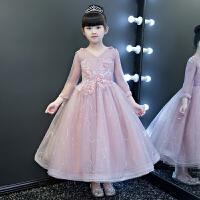 演出服花童小主持人晚礼服蓬蓬纱 女童婚纱儿童礼服公主裙长袖钢琴