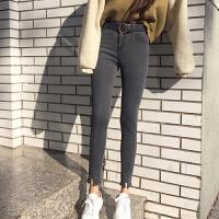 早春新款女装深灰色裤脚开叉高腰修身显瘦学生九分小脚铅笔牛仔裤