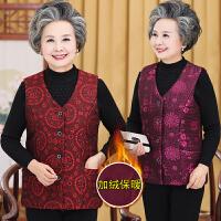 秋冬季中老年人女装V领开衫唐装马甲妈妈装印花夹棉复古背心