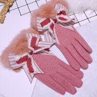 双层羊毛手套女冬兔毛韩版可爱修手学生加绒加厚骑车保暖手套女士