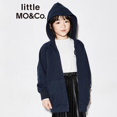 littlemoco胶印图案可拆卸魔术贴章仔连帽卫衣KA173SWS208 显瘦插肩袖 魔术贴章仔