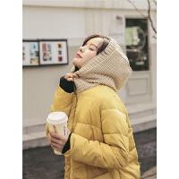 连帽中长款2019冬季新款女学生百搭韩版宽松学院风面包服棉衣