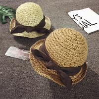 儿童草帽女童夏季遮阳帽男宝宝沙滩帽出游度假防晒大沿盆帽韩版潮