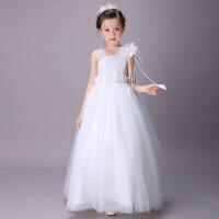 儿童公主裙蓬蓬裙斜肩吊带裙 女童礼服裙欧根纱婚纱裙花童裙中长款 白色