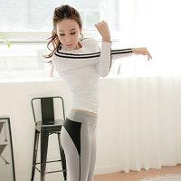 健身房运动跑步专业瑜伽服女上衣秋冬速干T恤显瘦瑜伽长袖 紧身裤