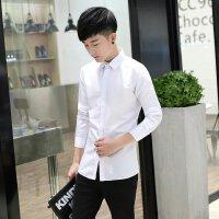 韩观男装秋季韩版衬衣青年男士修身型纯色长袖衬衫班服宽松休闲潮批发