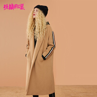 妖精的口袋呢子大衣冬装2018新款长袖冬季韩版宽松毛呢外套女