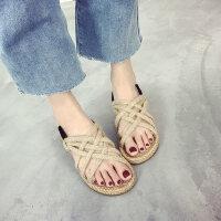 夏季平底罗马仙女风学生波西米亚鞋沙滩鞋女凉鞋度假百搭海边拖鞋