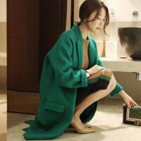 2017秋冬新款韩版女装毛呢外套显瘦宽松中长款茧型绿色毛呢大衣女 绿色 X