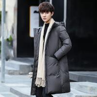 反季冬季男士羽绒服修身中长款韩版潮流学生连帽过膝加厚保暖外套