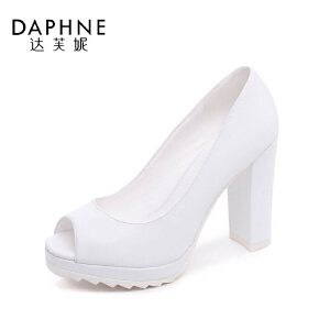 达芙妮单鞋女粗跟高跟防水台浅口鱼嘴单鞋