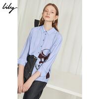Lily2019秋新款女装垂顺粘纤单排扣宽松休闲胶印衬衫119330C4244