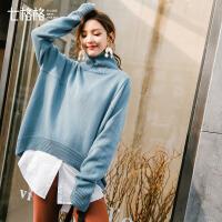 七格格高领毛衣女宽松百搭套头2018春装新款韩版学生外穿长袖打底针织衫