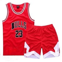 新款篮球套装夏男女婴幼儿童装公牛队服背心短裤宝宝篮球衣服运动休闲套装红色90c